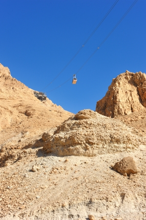 Cableway cabin descends from the fortress Masada  photo