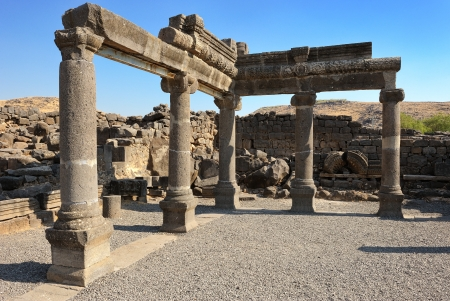 talmud: Remains of ancient buildings in the Korazim national park, Israel.