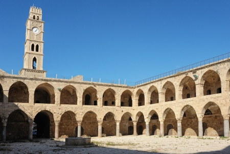 acre: Ancient caravanserai in the city of Acre, Israel Stock Photo