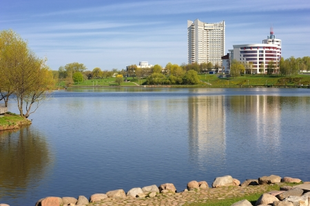 svisloch: River and buildings in Minsk, Belarus
