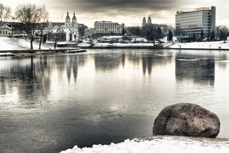 svisloch: River Svisloch in winter in Minsk, Belarus