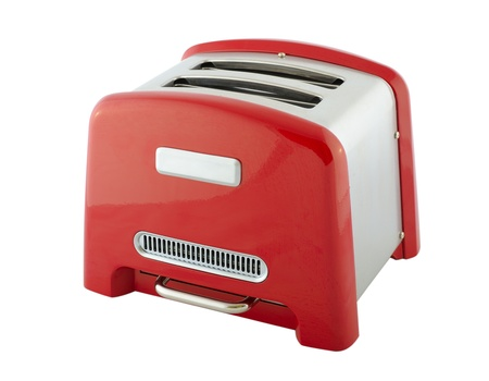 toaster: Kitchen appliances - toaster of silver and red color, isolated on a white background Stock Photo