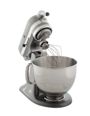 Kitchen appliances - pearl gray planetary mixer, isolated on a white background