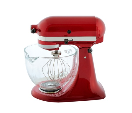 Kitchen appliances - red planetary mixer with a transparent bowl, isolated on a white background Stock Photo
