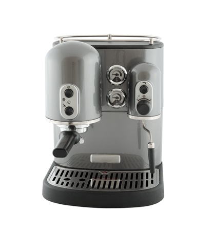 Pearl gray coffee machine, isolated on a white background Stock Photo