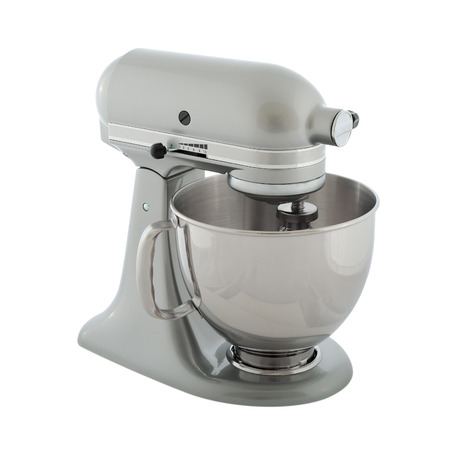 Kitchen appliances - gray planetary mixer, isolated on a white background