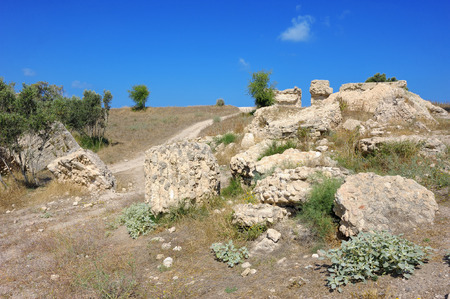 Remnants of the Crusader structures in the park of Ashkelon in Israel