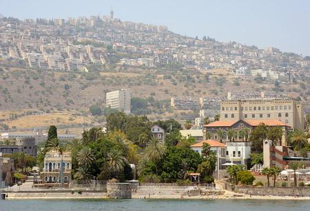 Tiberias, a town on the slopes of the mountain near the Lake Kinneret Stock Photo