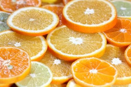 Abstract background from citrus fruit (orange, tangerine, lemon) Stock Photo