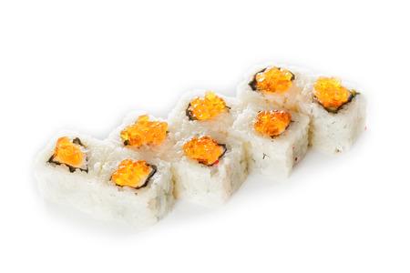 Rolls ikura maki  isolated on white background Stock Photo