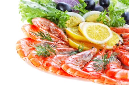 Prawn Salad on white background Stock Photo