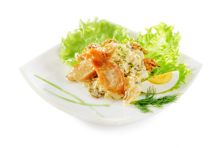 Vegetable salad with grilled chicken breast and egg. Isolated on white background.