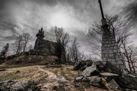 visitation: The church on the hill top Sleza of the Visitation of the Blessed Virgin Mary made in HDR in gray shades