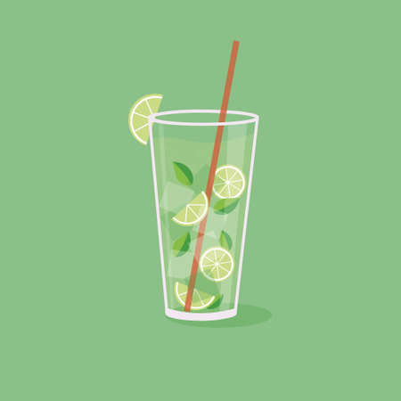 Mojito glass beaker and lime illustration