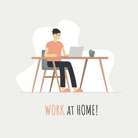 Work at home laptop freelance illustration