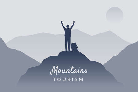 Man on top. Mountain illustration Ilustracja