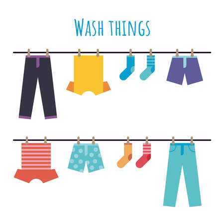 Vector illustration of wash things. Clothes hanging on a rope. Laundry home. Dried things on clothes. Flat illustration of washing clothes. Pants, shorts, socks, T-shirts.