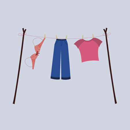 Woman clothes are drying illustration