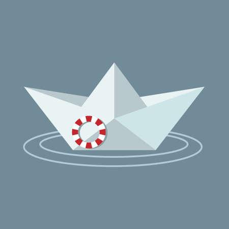 Boat vector, paper boat illustration, lifeboat