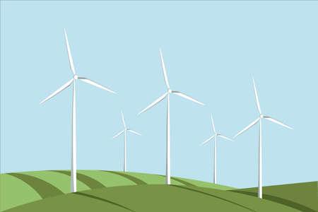 Windmill illustration. Alternative wind energy 向量圖像
