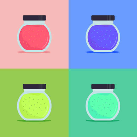 Color jam set. Glass jam icon