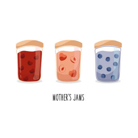 Mother's jams vector. Cherries, apricot, blueberry jam