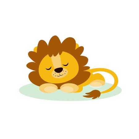 Cute lion sleep character vector