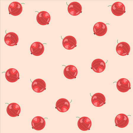 Vector seamless pattern with red currents. Red berry