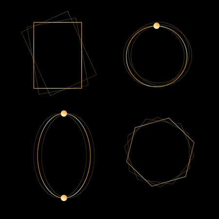 gold frame set. geometric frame Vektorgrafik