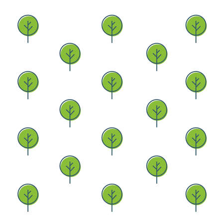 Seamless outline tree pattern. Hand Drawn nature and ecology theme wallpaper. Green trees on white background