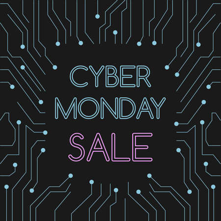 Cyber monday on tech circuit board background 向量圖像