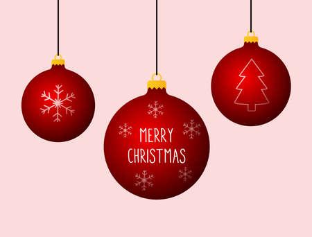 Merry Christmas banner. Christmas ball decoration