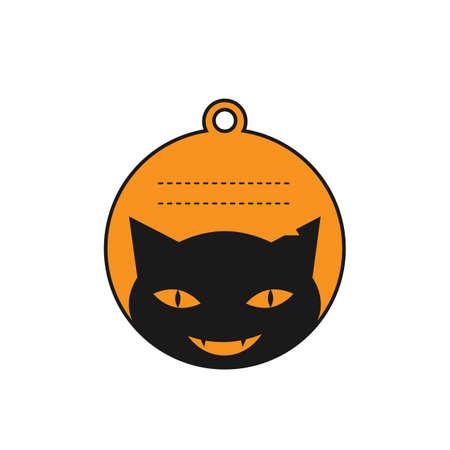 halloween black cat label vector 向量圖像