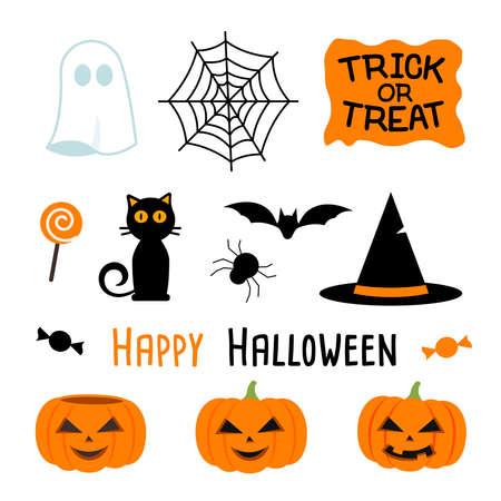 vector illustration of halloween party set