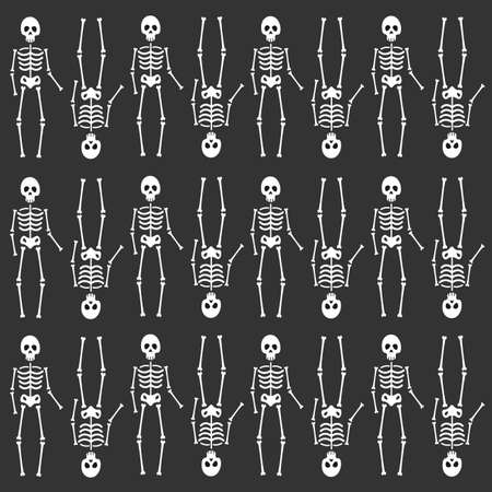 Seamless pattern with skeleton silhouette