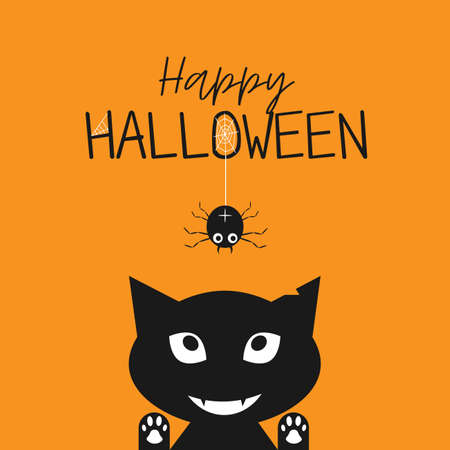 Happy Halloween. Black cat face head silhouette looking up to hanging on dash line web spider insect. Cute cartoon character. Baby pet animal collection. Flat design Orange background. Vector Ilustracje wektorowe