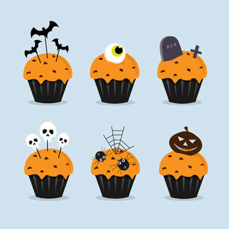 Set of Halloween cakes. A lot of fancy halloween element decorated on tower of cakes