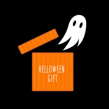 halloween gift box and ghost