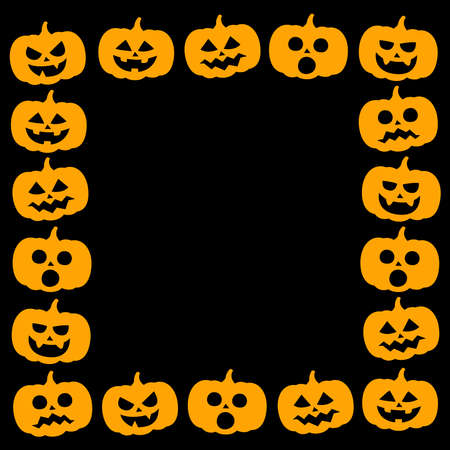 Halloween frame with pumpkin vector