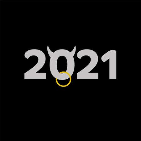 2021 with bull head vector Ilustracja