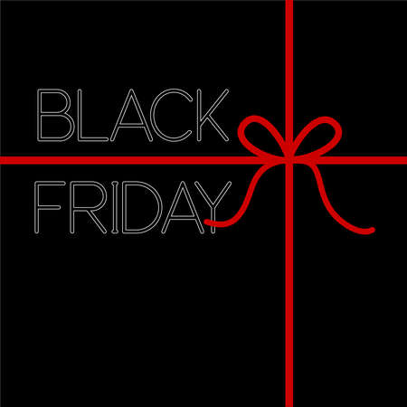 Black gift box top view with red bow and black friday sale, special offer. Ilustracja