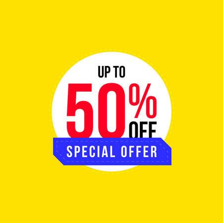 Mega Sale banner. Up to 50% off. Special Offer