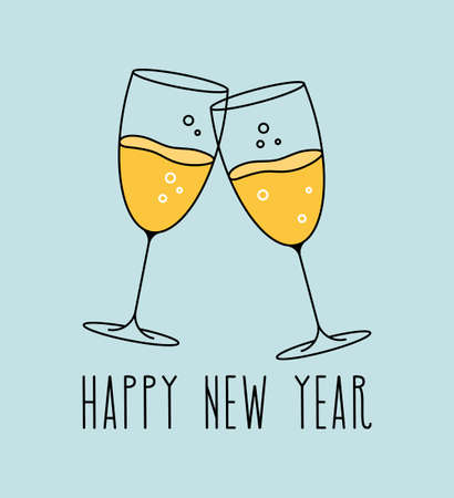 Glasses of champagne banner. Happy New Year template