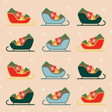 Christmas sleigh set. Christmas pattern Illustration