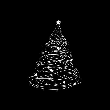 christmas tree of lines vector illustration Illustration