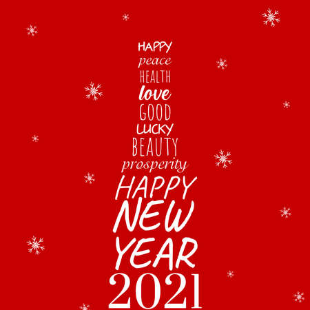 Happy New Year 2021 lettering with bottle Ilustração