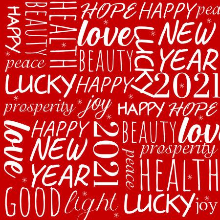 2021 Happy New Year banner. Typographic pattern