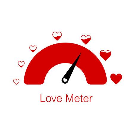 Love meter heart indicator. Love day full test valentine background card progress.