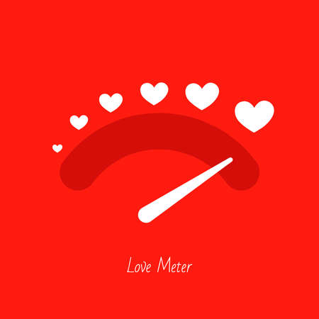 Love meter heart indicator. Love day full test valentine background card progress. Ilustrace