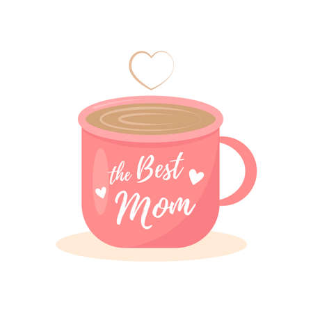 The Best Mom with cup illustration